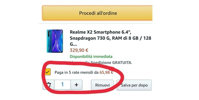 pagamenti a rate Amazon